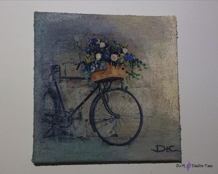 -BICYCLE -Decoupage technique on canvas/ photo print/ modeling paste/ acrylic paint -Measures: 20x20 cm  https://www.etsy.com/listing/213094096/bicycle-decoupage-canvas-mixed-media?ref=shop_home_active_14