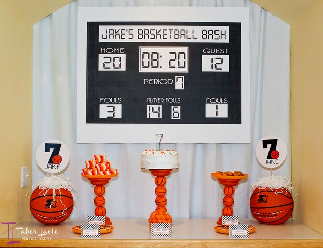 Over a dessert table or the main party area, keep the March Madness / basketball theme going with a handmade scoreboard! Maybe even get the guests involved by keeping score of the game, party games, etc.!