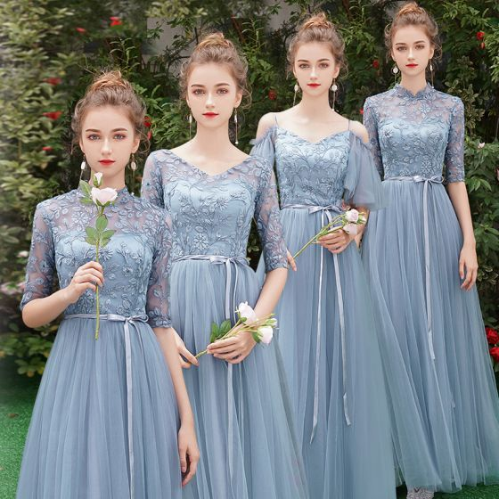 Affordable Sky Blue See-through Bridesmaid Dresses 2019 A-Line / Princess 1/2 Sleeves Sash Appliques Lace Floor-Length / Long Ruffle Wedding Party Dresses