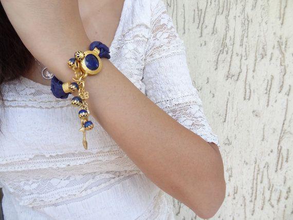 Lapis Lazuli Bracelet Navy Blue Turkish Silk Bracelet Gold