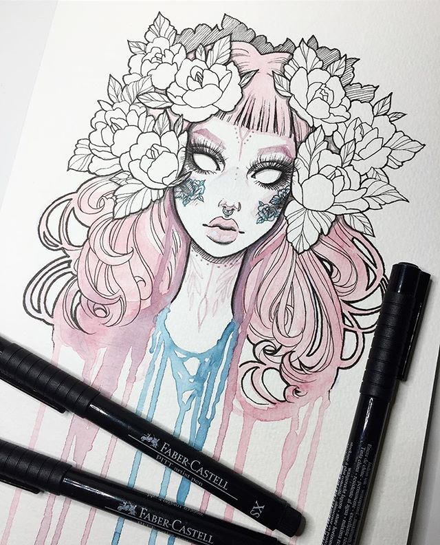 idee dessin fille cheveux aquarelle coulures