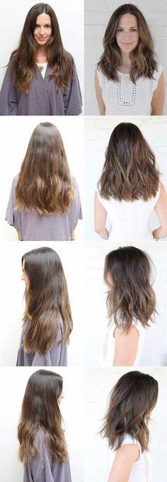 stark gestufte lange Haare - glatt A Linie