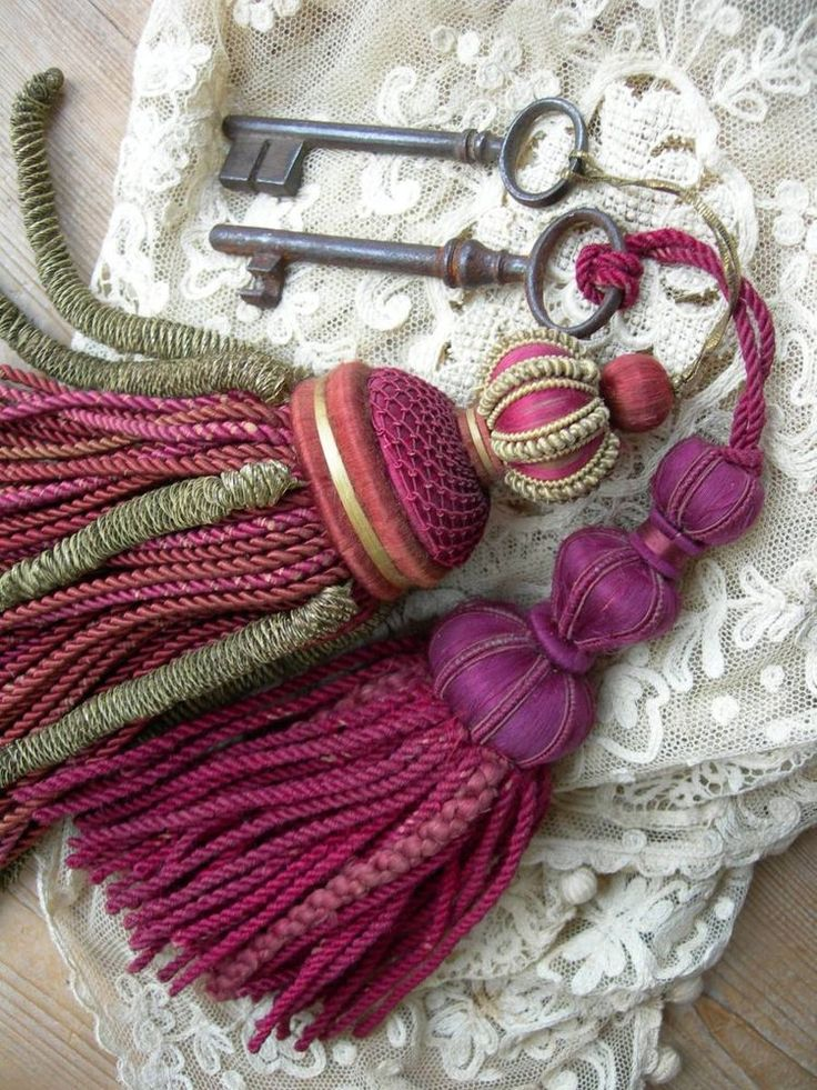 ....Romantic ideas...antique French passementerie silk key tassels w. keys attached