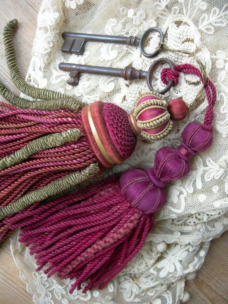....Romantic ideas...antique French passementerie silk key tassels w. keys attached