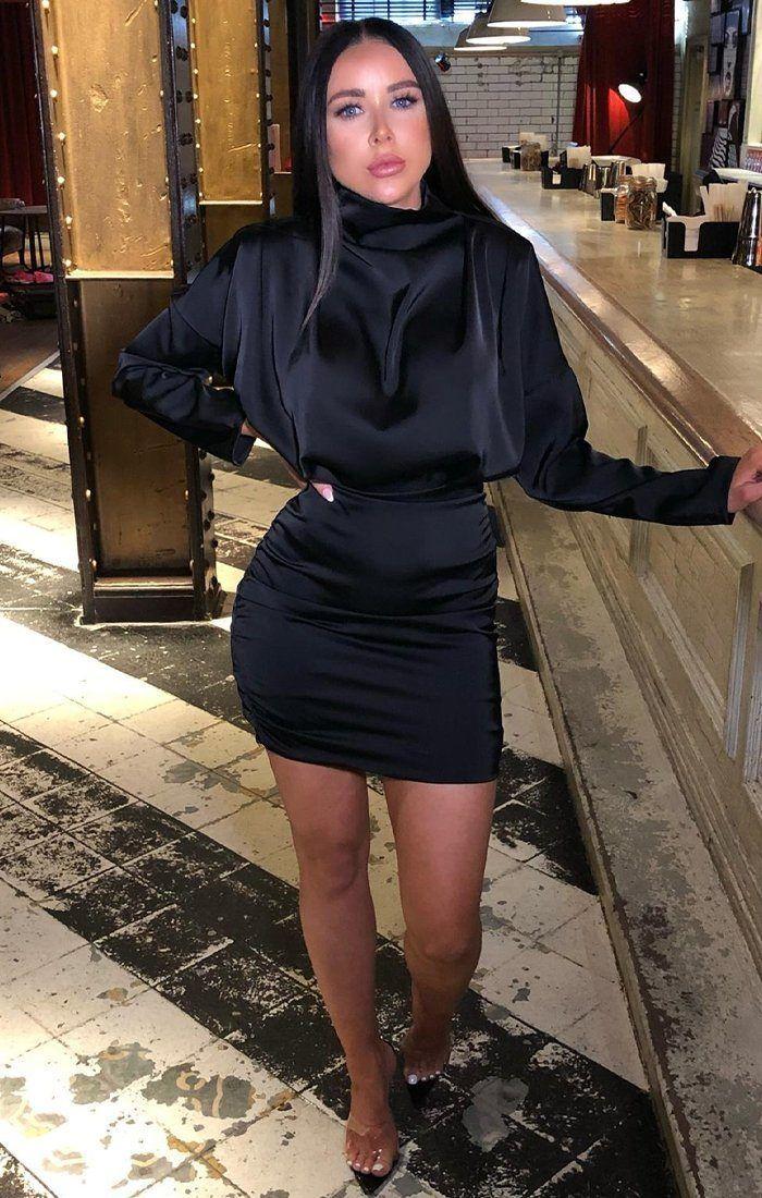 bf11e9faacff Black Satin Draped Mini Dress - Tatiana - S (6/8) / Black in 2019 ...
