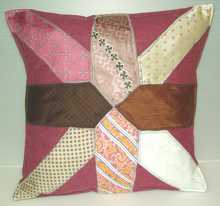 Quilted Necktie Pillow- Preppy Classic Traditional- Handmade Cushion Cover 18 x18 46x46 cm. & 79 best Cushion ideas images on Pinterest | Cushions Cushion ... pillowsntoast.com