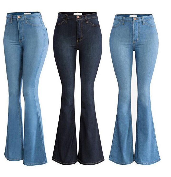 Womens Flare Bell Bottom Denim Pants High Waist Slim Bootcut Jeans Trousers/_UK