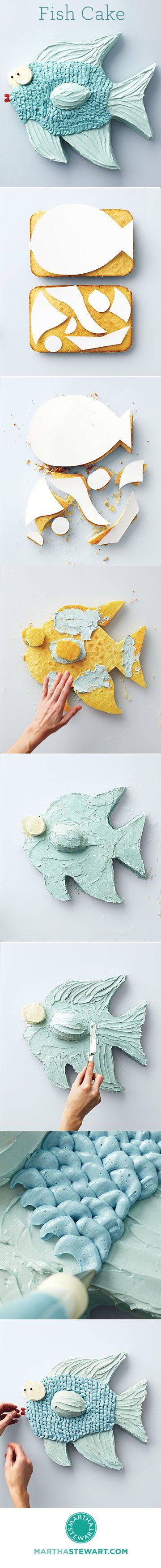 #DIY #Tutorial Fish #Cake  Para hacer un pastel en forma de mariposa y con mus de chocolate blanco y con leche