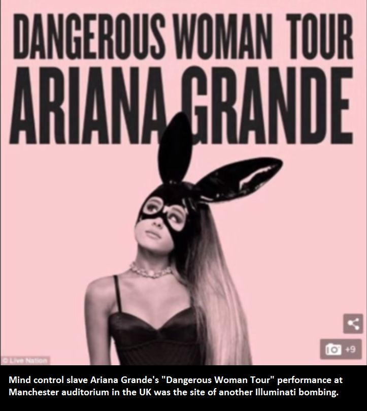 """One may recall Ariana Grande campaigned for accused Monarch slave user Hillary Clinton during the 2016 campaign.  The ears and mask are classic MK Ultra/Monarch symbolism, and Grande appears to be a full-blown mind control slave, not surprising her show was used for another staged """"traumatic event"""".  """"Dangerous Woman"""", indeed."""