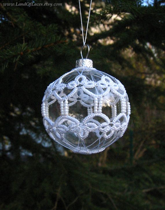 Clear glass ball with tatted lace Christmas tree by LandOfLaces