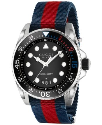 9b076ea1a28 Gucci Men s Swiss Dive Blue-Red-Blue Nylon Nato Strap Watch 44mm YA136210 -  Blue Red