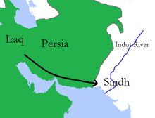 A map of Muhammad bin Qasim's expedition into Sindh in 711 AD.