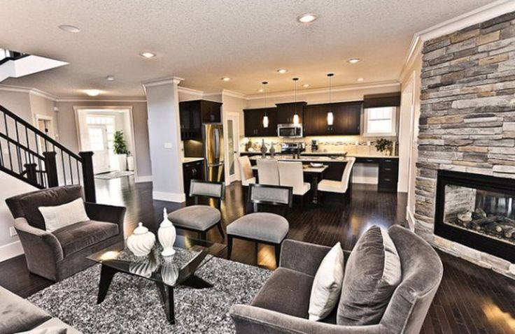 I Like The Dark Wood With Grey Walls And White MoldingLiving Room Design Pictures Remodel Decor Ideas Marcson Homes