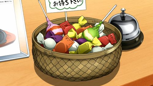 A basket of candy!  Noragami, Episode 3