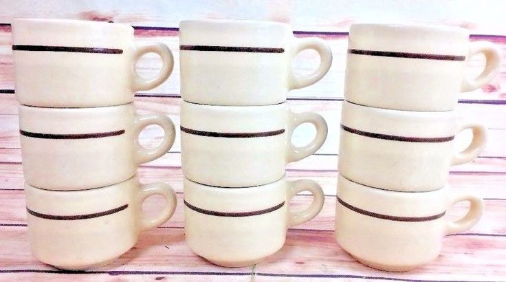 9 Vintage COFFEE CUPS stack-able CAFE diner style Restaurant China kitchen retro #BUFFALO