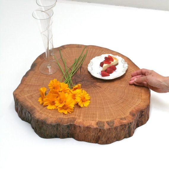 Tree slice centerpiece xl wood wedding cake stand cupcake