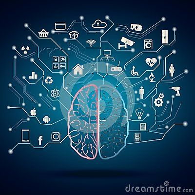Concept of android brain. Artificial intelligence combine with organic material. Half of human brain is electric circuit and half is normal brain. All is controlled with the power of brain like transportation, smart house, security, financial, appliances, health communication. Spider web of network connections