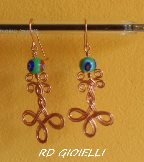 Copper and venetian glass beads