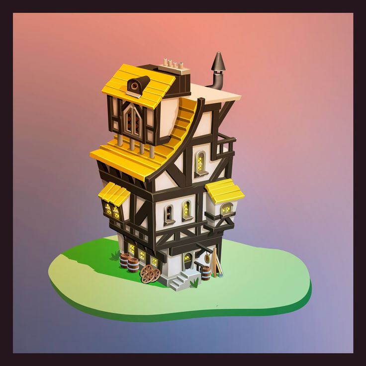 a 2D timbered house for Game Art.