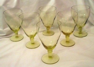 Beautiful Gold Yellow Crystal Stemmed Water Goblet Set of 6