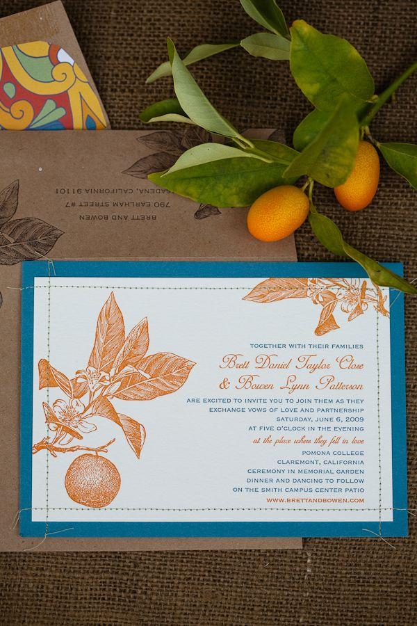 Citrus Stitched Wedding Invitations
