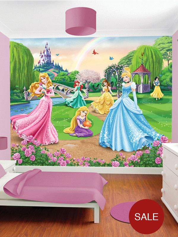Disney walltastic princess wall murals for Disney princess mural asda