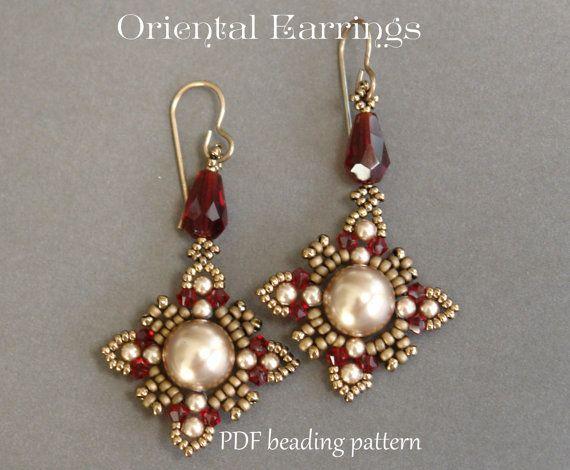 Beaded Earrings Tutorial - Oriental Style Earrings - Swarovski Crystal and Pearls Earrings - Earrings pattern - PDF pattern