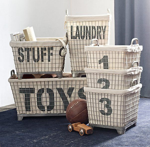 RH baby&child's Industrial Hamper & Liner:Modeled after the rugged wire bins found in industrial washing facilities, our welded steel basket welcomes loads of laundry.