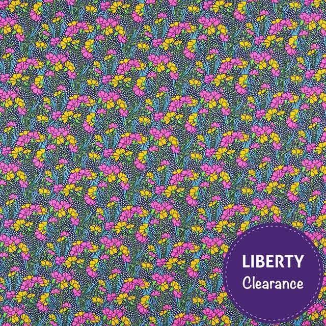 Liberty Lifestyle Craft Cotton Fabric Cranston Blue Magenta 112cm - Abakhan