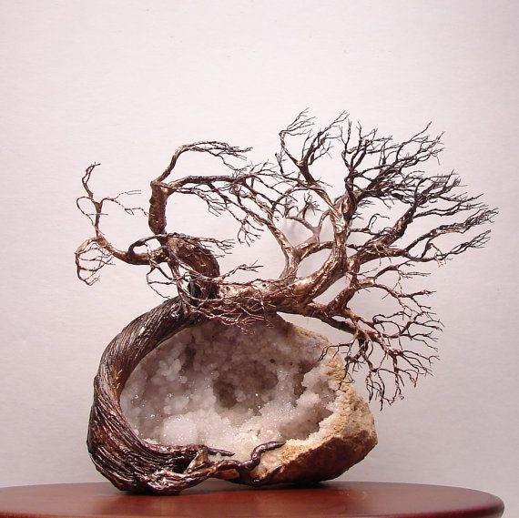 Morocco Quartz Crystal Geode Wire Tree Of Life by CrowsFeathers