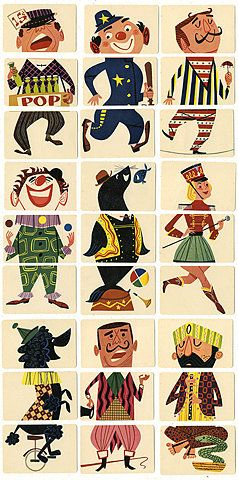 Mixies  Ed-U-Cards, Copyright 1956  Mixies card game with new flip movie backs, mix colorful heads, bodies and legs to make thousands of the zaniest, funniest circus figures - no information on the name of the illustrator