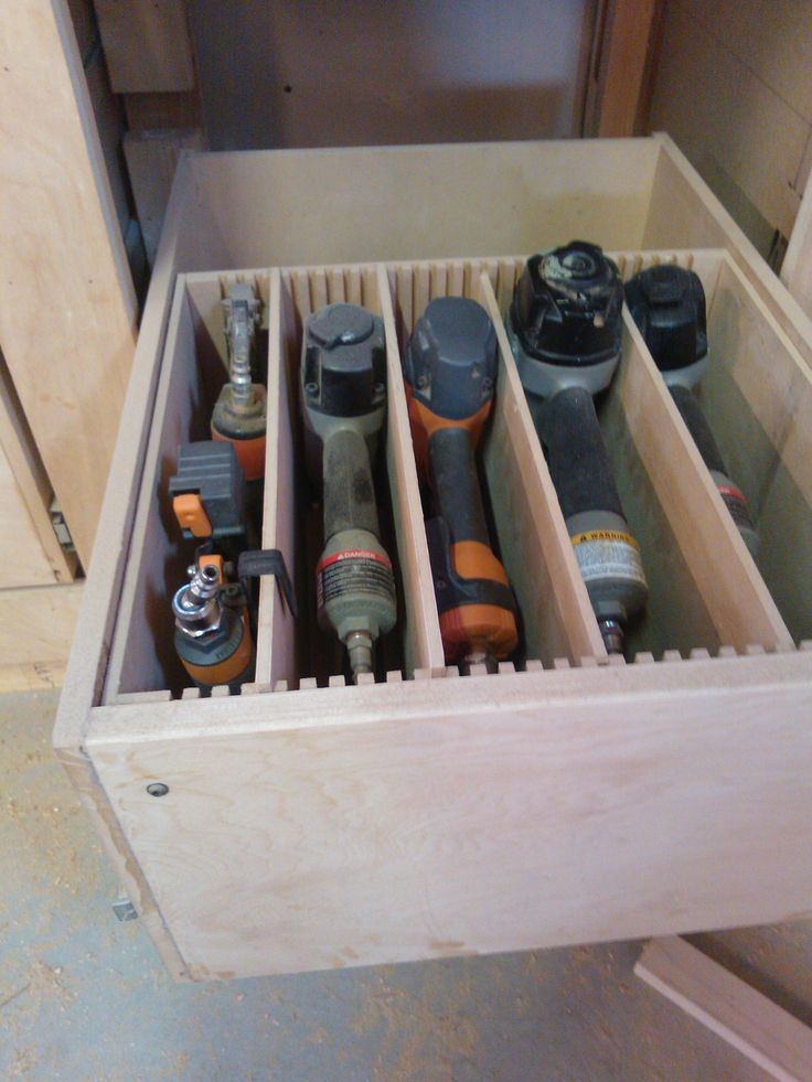 adjustable drawer for tools in garage. Would love this in other spaces too!