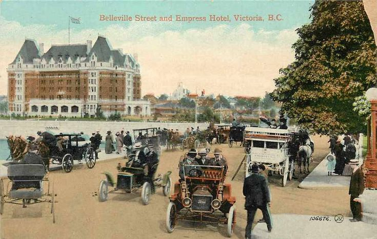 Belleville Street and Empress Hotel, Victoria, B.C. taken from the intersection at Menzies Street. Looming large in the background on the left is the CPR Empress Hotel (1908). Off to the right is the grounds of the Provincial Parliament Building (1898) and out of sight to the extreme left was the CPR Steamship Terminal and dock.