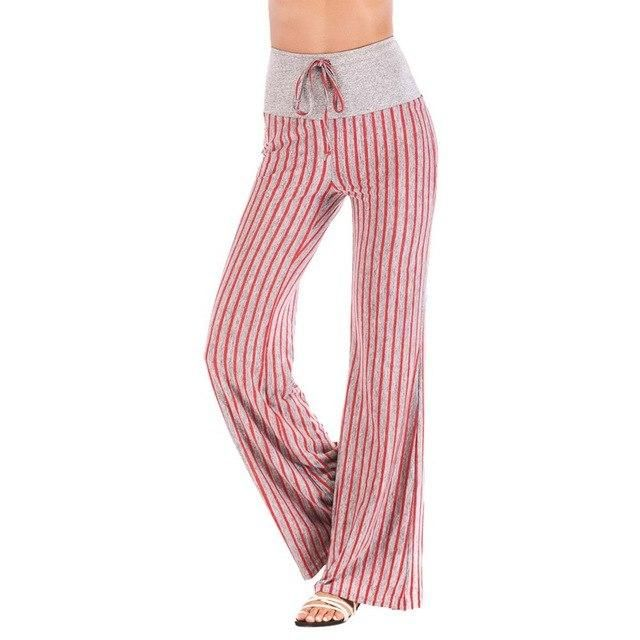 Women'S Lantern Pants Striped Sports High Waist Yoga Pants Printed Loose Sporting Trouser Fitness Gym Pant Purple Striped1 M