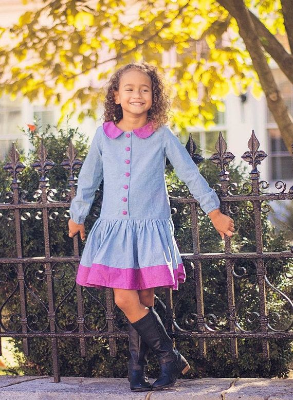 Cute chambray drop waisted dress. Perfect for autumn, and back to school.  Pattern by MODKID.   #waverlywadedesigns