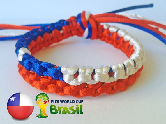 CHILE flag WORLD CUP Brazil 2014 Blue Red White Unique by SmeRuci