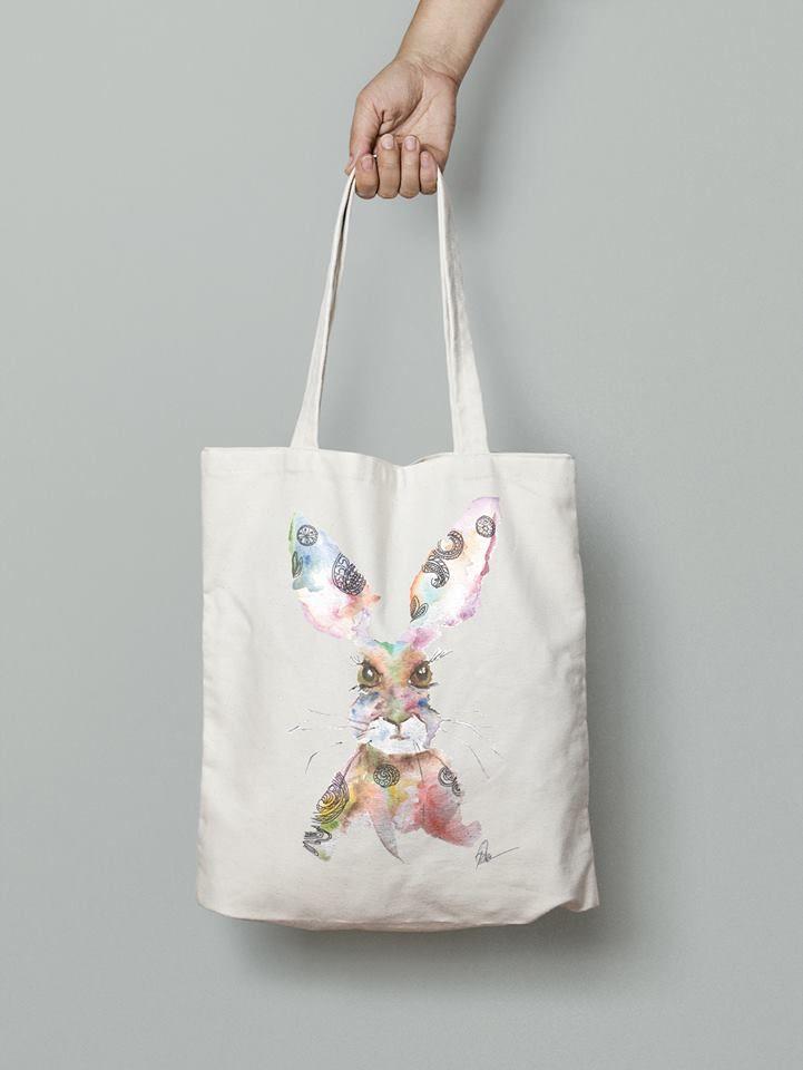 Rabbit eco friendly handmade handbag- watercolor printed