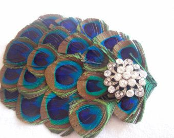 New handmade 1920s inspired peacock feather fascinator