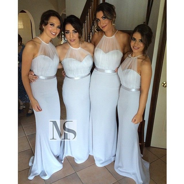 sexy halter sky blue bridesmaid dresses 2015 long wedding party gown
