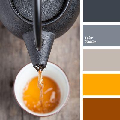 black, bright orange, bright red, bright yellow, color of orange, color of spices, color of wet asphalt, color palette, contrast combination, dark gray, gray, red-orange, saffron, selection of color, shades of spices.