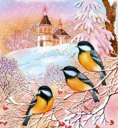 Оригинал схемы вышивки «зимний пейзаж»
