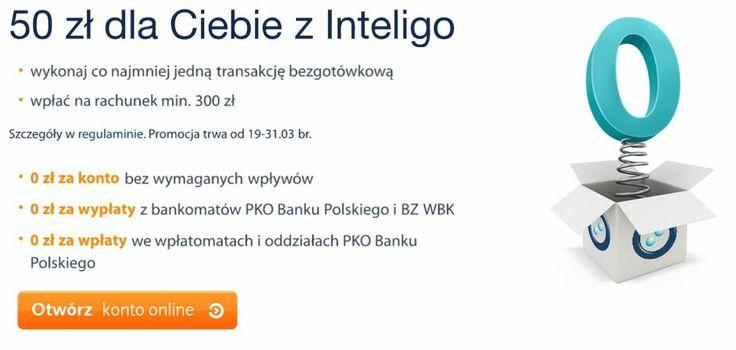 Inteligo przygotowało dla swoich Klientów akcję promocyjną, w której Klient otrzymuje 50 złotych bonusu za założenie konta. Konto Inteligo to również: 0 zł za konto, 0 zł za wypłaty z bankomatów PKO Banku Polskiego i BZ WBK oraz 0 zł za wpłaty we wpłato matach i oddziałach banku.