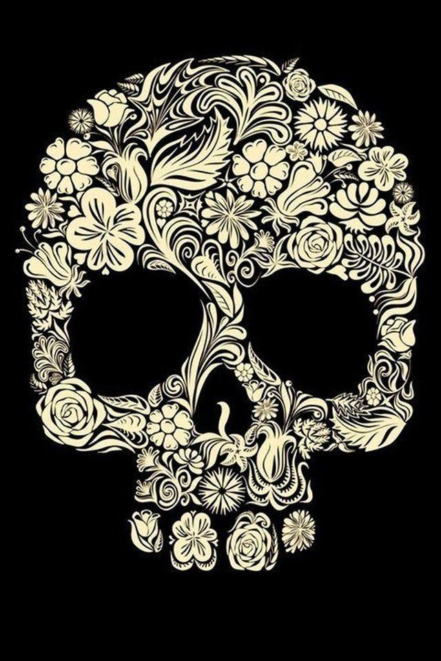 Mexican Sugar Skull Wallpaper | Flower Sugar Skull iPhone 4 Wallpaper (640x960)