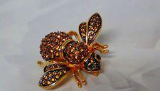 Joan rivers Паве кристалл пчелиная матка булавка двойная крыло брошь Янтарь золотой топаз новый без коробки