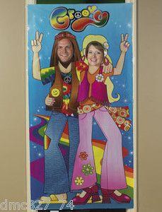groovy retro party props   Retro 60s 70s Party Groovy Hippie Couple Photo Photograph Prop Door ...