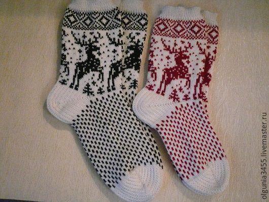 Купить Носки с оленями - носки вязаные, Носки шерстяные, носки женские, скандинавский орнамент