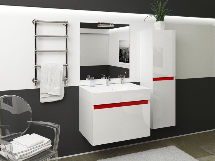 Lakierowane meble łazienkowe z kolekcji CREDO od Furni.  Lacquered and elegant bathroom furniture from Furni