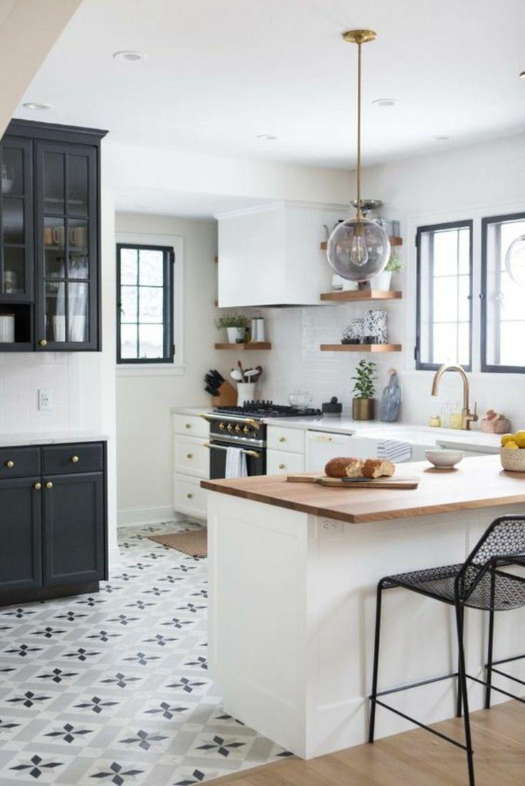 Küchengestaltung ideen holzplatte kücheninsel bodenfliesen