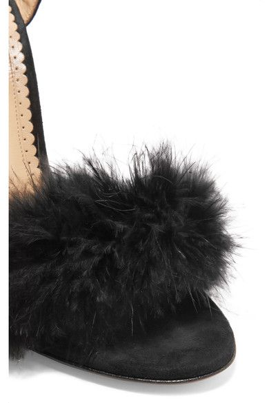 Charlotte Olympia - Salsa Feather-embellished Suede Sandals - Black - IT39.5