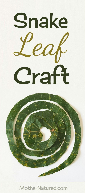 Sssuper simple snake leaf craft for kids #naturecraft #snakecraft